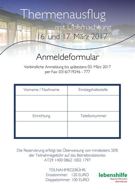 Musterbrief Einladung Betriebsausflug Thermenausflug 16 Und 17 M 228 Rz 20172 Lebenshilfen Soziale Dienste Gmbh