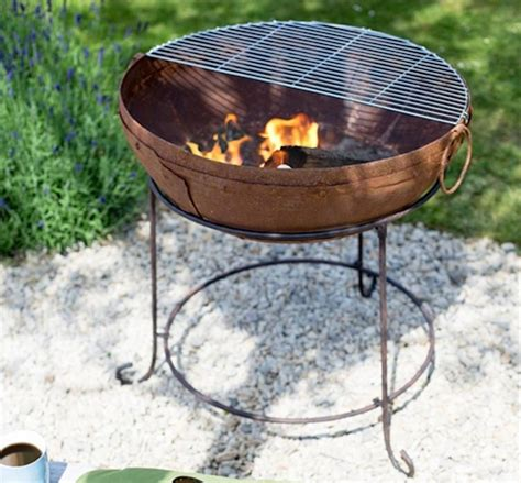 Firepit With Grill Contemporary Steel Firepit With Grill By Oxford Barbecues Notonthehighstreet