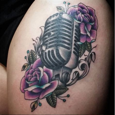 microphone and roses tattoo microphone purple and blue roses school