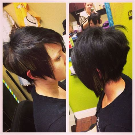 pixie cut with swing bob in front the hottest shape in short hair today quot stacked quot or