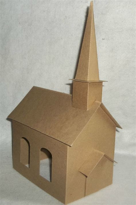 How To Make A Church Out Of Paper - large church with steeple diy putz style cardboard church