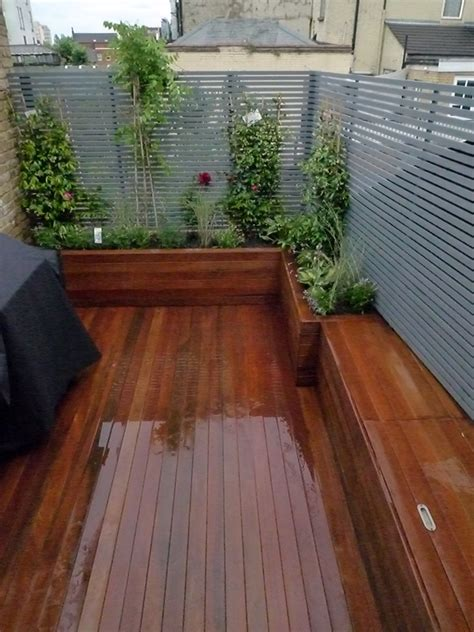 Garden Ideas With Decking Small Roof Terrace Deck With Raised Beds Clapham Roof Garden Bench Storage