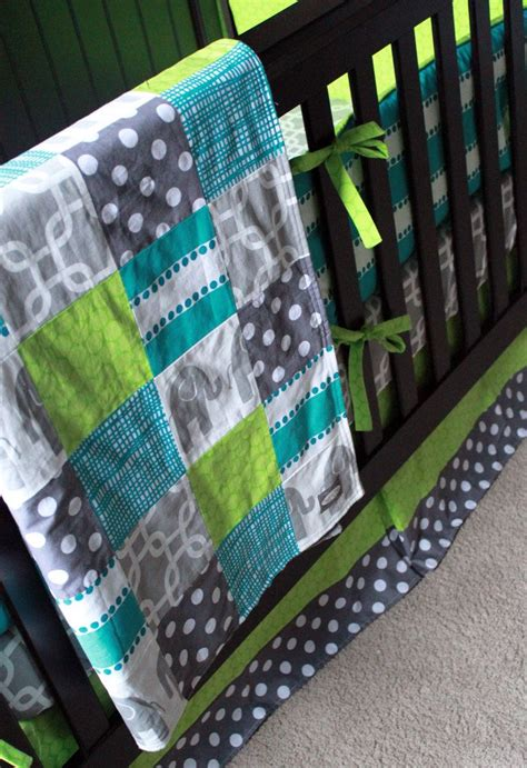 Lime Green Crib Bedding Custom Crib Bedding Turquoise Grey And Lime Green 403 00 Via Etsy Baby Boy Nursery