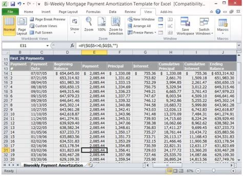 loan amortization excel template bi weekly mortgage payment amortization template for excel