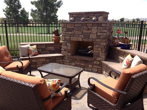 cozy up outdoor fireplaces in arizona landscape designs
