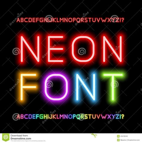 free download neon typography neon font stock vector illustration of illuminated