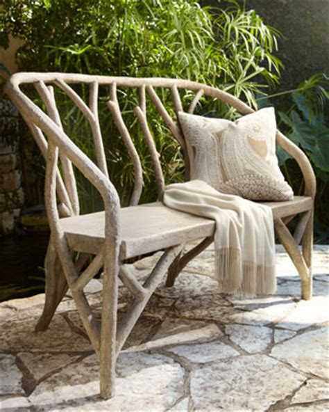 horchow outdoor furniture faux bois bench traditional patio furniture and outdoor furniture by horchow