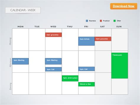 keynote template calendar week