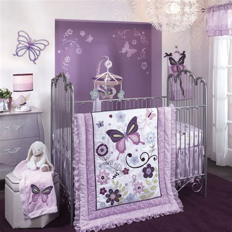 purple butterfly crib bedding bedroom cozy purple theme girl nursery ideas lambs and