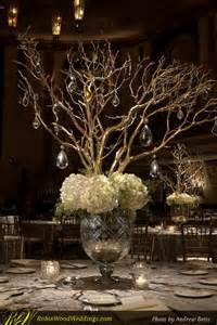 manzanita tree centerpieces wedding centerpiece in mercury glass with white hydrangea and gold manzanita branches