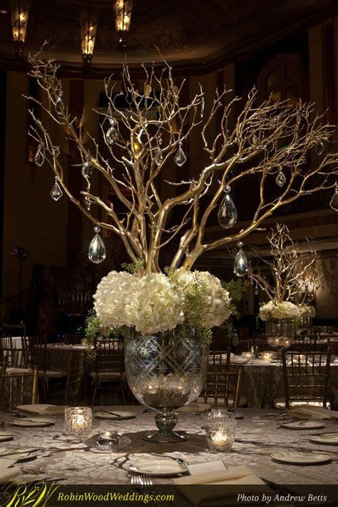 gold branch centerpieces wedding centerpiece in mercury glass with white hydrangea
