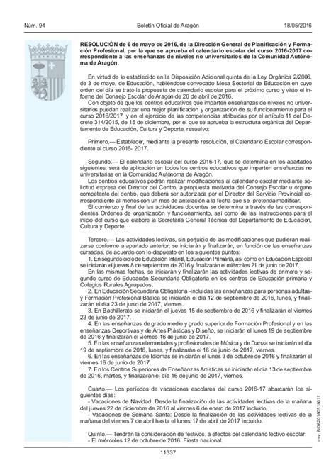 Calendario Escolar Aragon Calendario Escolar Curso 2016 2017 Aragon