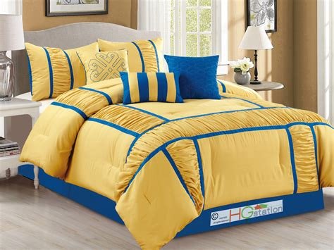 yellow and blue comforter set 7 pc gabbi ruffled ruched patchwork striped comforter set