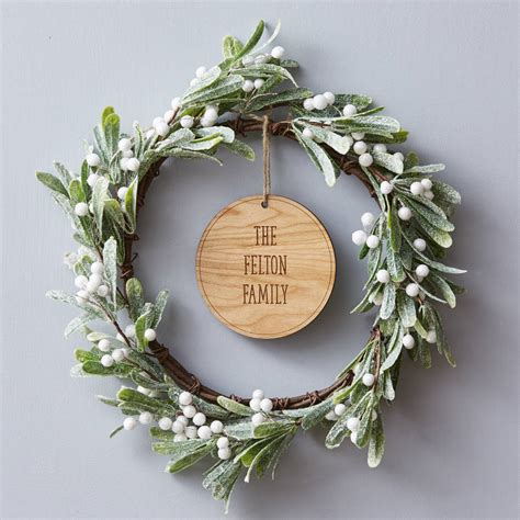 mistletoe personalised wreath by