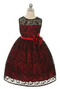 Red flower girls lace dress christmas easter sizes 2 14 fancy kd307