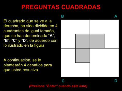 preguntas cuadradas juego matematico desafio mental
