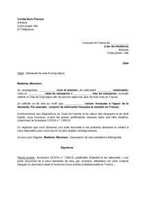 Lettre De Motivation Pour Visa D Tude S Jour letter of application modele de lettre de travail pour