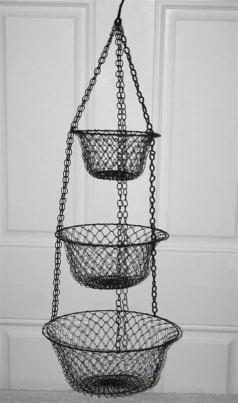 vintage metal wire 3 tier hanging fruit by queenieseclectic