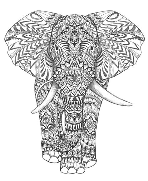 Aztec Elephant Coloring Page | elephant graphic google search coloring pages
