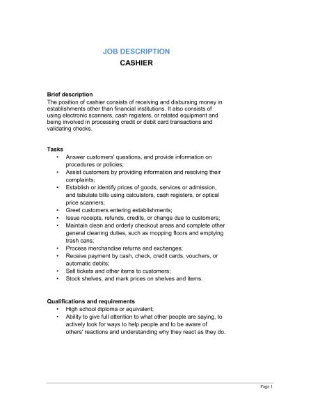cashier description cashier brief description cashier