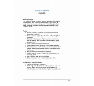 list of pharmacy cashier responsibilities and duties - Cashier Duties Resume