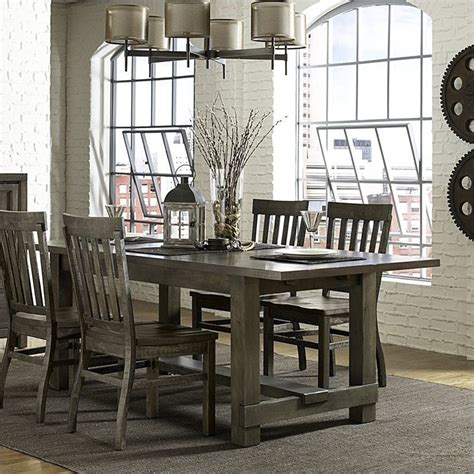 Magnussen Karlin Wood Rectangular Dining Table In Grey Magnussen Dining Room Furniture