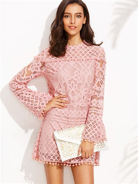 Crochet Pink Dress pink crochet pom pom trim sleeve dress makemechic