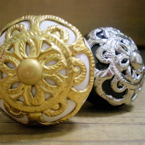 Antique Gold Door Knobs vtg door knobs gold brass silver antique filigree furniture handles pulls ebay