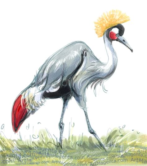 crane painting birds cranes