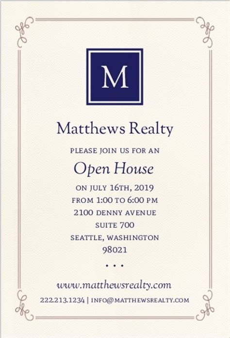 business open house invitation templates free monogram business open house invitation business open