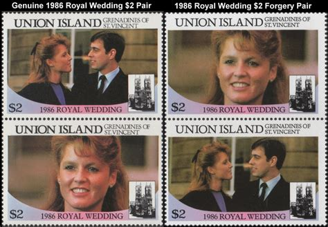 Royal Wedding Comparison by Vincent Union Island 1986 Royal Wedding Forgery Sts