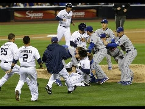 los angeles dodgers  san diego padres fight hd youtube