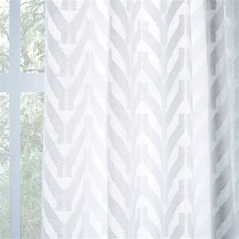 White Chevron Curtains Sheer Chevron Curtain White West Elm