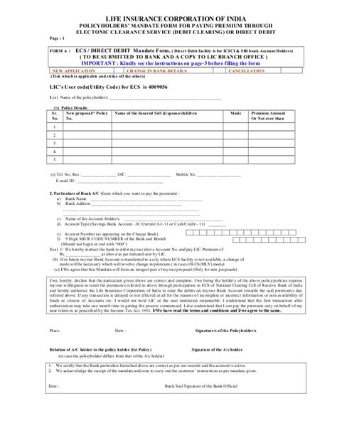 ecs authorization letter format mandate form for payment of lici premium by ecs