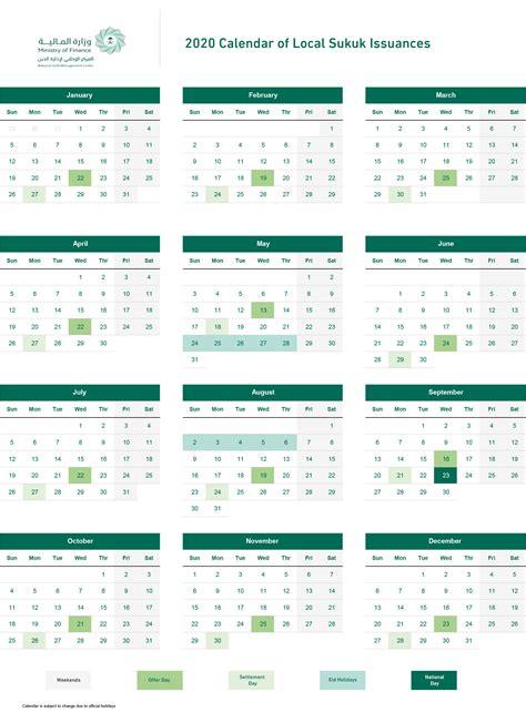 calendar  local sukuk issuances