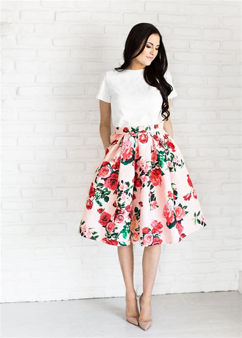 Flower Skirt Rok parcell new arrival summer pink peonies