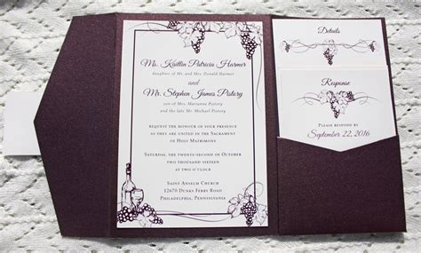 Grape Theme Wedding Invitations by Branches And Vines Archives Emdotzee Designs