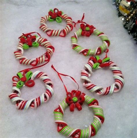 6 peppermint ribbon candy wreath christmas tree ornaments