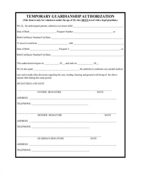 free guardianship template temporary guardianship form sles 10 free documents