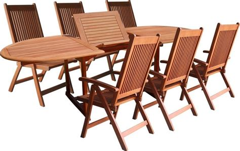 Wood Patio Table Set Vifah V144set1 Wood 7 Patio Dining Set With Oval Extension Table Patio Table