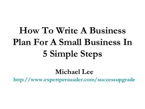 how to write a business plan for a small business in 5