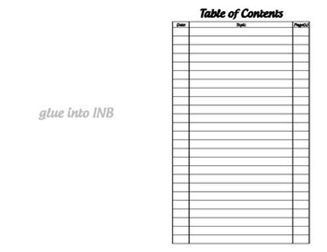 science notebook table of contents template table of contents interac by math by teachers