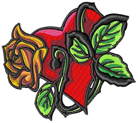 flower heart tattoo embroidery design annthegran