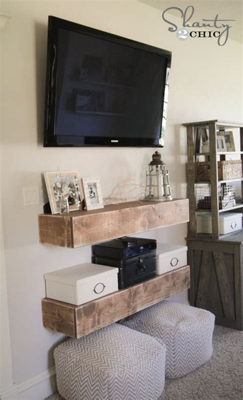 bedroom tv shelf diy media shelves shanty 2 chic