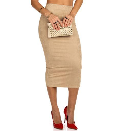 Skirt Naura faux suede midi pencil skirt
