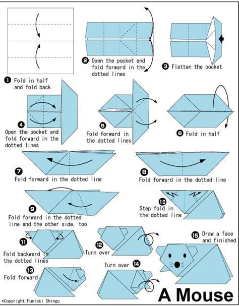 Origami Mice - mouse easy origami for