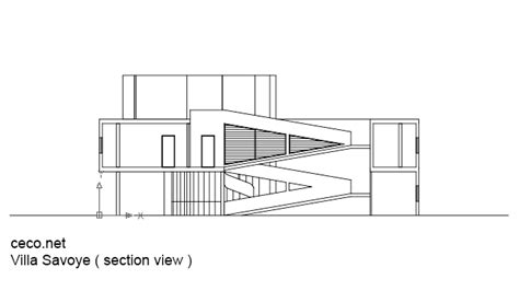 section dwg villa savoye le corbusier section view block in