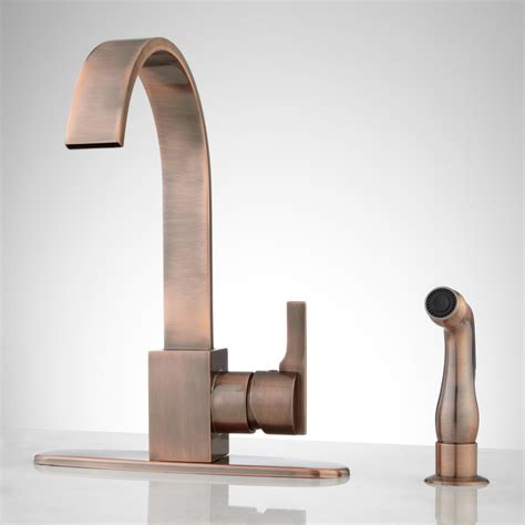 copper faucet kitchen brass gooseneck kitchen faucet signaturehardware com