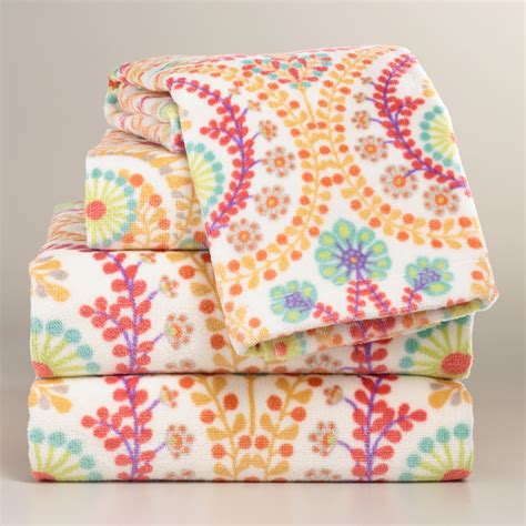 coral treetop printed towel collection world market