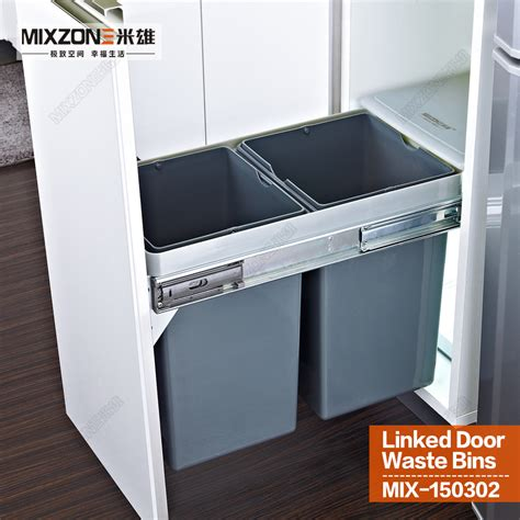 kitchen cabinet waste bins twin pull out trash bin kitchen cabinet double dual slide